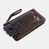 Men Faux Leather Retro Business 6.3 Inch Phone Bag Hand Carry Wallet Clutch Bag with Wrist Strap
