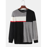 Mens Color Block Patchwork Knit Round Cuello Suéteres casuales de manga larga