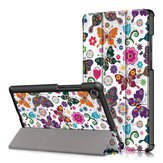 Tri-Fold Pringting Tablet Case Cover for Lenovo Tab M8 Tablet - Butterfly Version