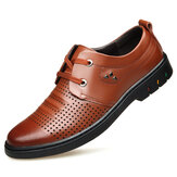 Genuine Leather Breathable Hollow Out Business Oxfords