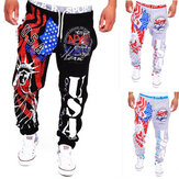 Mænds Lace Up Fashion Sports Jogger Bukser Statue of Liberty American Flag Udskrivning Hofte-hop Sweatpants