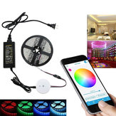 5M 60W SMD5050 Não impermeável Bluetooth APP Control RGB LED Strip Light Kit + 12V 5A Power Adapter
