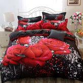 Laliterieimpriméepar3Dplace la couverture rouge de drap de lit de roses de literie avec 2 taies d'oreiller