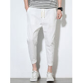 Mens Summer Cotton Linen Color sólido Casual Recto Pantalones