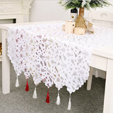 2020 Christmas Decor Tree Star Printed Embroidered Table Runner Table Flag for Home Xmas Table Decoration