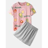 Mannen Casual Cartoon Fruit Print ronde hals korte mouw losse pyjama set