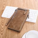 Hombres Business Long Wallet SIM Ranura para tarjeta SD Teléfono Bolsa vendimia Moda Piel Genuina Embrague Bolsa