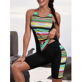 Split Multi-Color Stripes Surf Clothing Tankinis