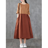 Casual Color Block Round Neck Stitching Maxi Dress With Pocket