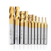 Drillpro 10 PCS 2-10mm HSS 4 Flauta Fresa de Titânio Fresa Fresa CNC Conjunto de Fresa CNC
