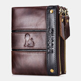 Men RFID Blocking Anti-theft Genuine Leather Double Zipper Wallet Coin Bag Card Hodler