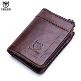 Men Genuine Leather Bullcaptain Casual Functional Wallet