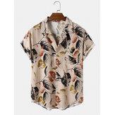Herren Vintage Blattdruck Casual Thin & Fit Brusttasche Kurzarmhemden