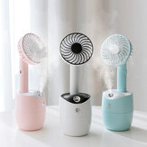 2 In 1 Rotating Spray Air Humidifier Fan USB Charging 3 Gears White Pink Blue