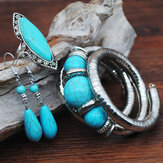 Vintage Turquoise Water Drop Pendant Earrings Ethnic Turquoise Necklace Earring Ring Bracelet Set