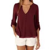Casual Women Button Loose Solid V-Neck Blouse