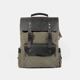 Men Retro Vintage Multifunction Canvas Leather Anti-theft Backpack