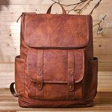 Männer Vintage Multi-Pocket-Diebstahlschutz 15,6-Zoll-Laptop-Rucksack