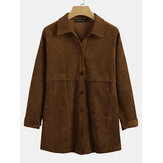 Dames Vintage Corduroy Revers Button Up Double Pocket Solid Jackets
