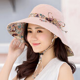 Women Sunscreen Bucket Hat Casual Anti-UV Wide Brim Double Sided Wear Beach Hat