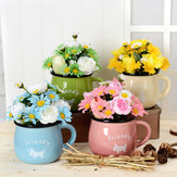 Simulation Flower Chrysanthemum Cup Pot Pottery 4 Colors Can Choose