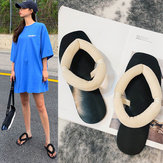 New Season Sandals And Slippers Female Fairy Student Wild Net Red Simple Flannel Comfortable Flat Bottom Word Drag