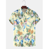 Mens Casual Pineapple Colorful Floral Print Short Sleeve Shirts