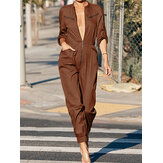Women Zip Front Long Sleeve Beam Feet Cargo Solid Color Jumpsuits With Pocket