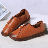 Women Front Zipper Comfy Soft Sole Cow Leather Loafers