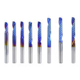 Drillpro 4mm Shank 1 Flute Spiral End Mill Carbide End Mill Blue Nano Coating CNC Router Bit Single Flute End Mill Milling Cutter