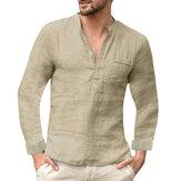 Chemise de Henley à manches longues à col montant et à manches longues pour hommes