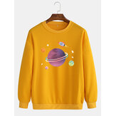 Heren Leuke Cartoon Planet Print Drop Shoulder Katoenen Trui Sweatshirts Met Lange Mouwen