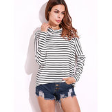 Casual Women Black and White Striped Shirts Batwing Sleeve Long Sleeve Blouse