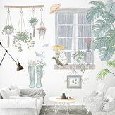 DIY Çıkarılabilir Yeşil Bitkiler Duvar Çıkartmaları Denizlik Manzara Kedi Botlar Çiçek Sticker Oturma Odası Yatak Odası Çocuk Odası Dekorasyon için