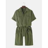 Monos casuales con cinturón de algodón de color sólido para hombre con bolsillo