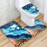 Set tappetino in flanella Set coprivaso non antiscivolo Tappeto da bagno Tappeto per moquette Underwater World