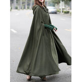 Dames Casual Hooded Losse Cape Jacket Jassen Mantel