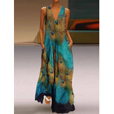 Sleeveless Peacock Print Bohemia Beach Long Maxi Dress