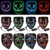 Halloween 4-Mode LED Light El Wire Masker Up Lucu Masker Purge Election Tahun Great Cosplay Mask