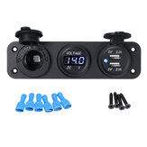 12 V 2.1 + 2.1A Blauwe LED Rocker Switch Panel Dual USB Lader Stopcontact Voltmeter Voltage Display Voor Auto Boot RV