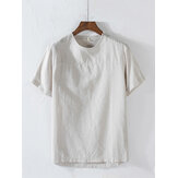 Mens New Casual Solid Color O-Neck Short Sleeve Tops