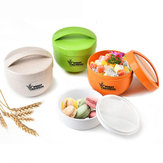 Honana 800mL Round Wheat Fiber Lunch Box Portable Eco Friendly Healthy Food Container Tote