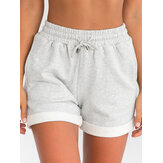 Women Simple Solid Color Drawstring Pocket Casual High Waist Shorts