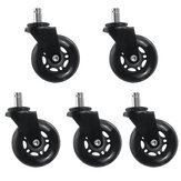 5Pcs Office Chair Caster Wheels 2.5inch Replacement Swivel Rubber Soft Safe Roll