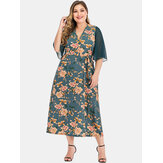 Plus Size Women Chinese Style Floral Print Mesh sleeve Patchwork Elegant Maxi Dress