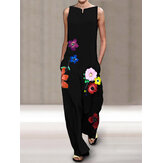 Flower Print O-neck Sleeveless Ankle-Length Jumpsuits Overalls For Women