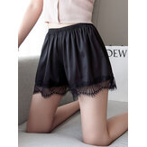 Plus Size Faux Silk Naadloze Lace Trim Smooth Butt Lifter Mid Waisted Safety Short Pants