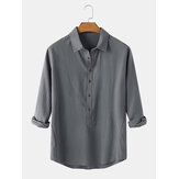 Mens Cotton Solid Color Lapel Collar Casual Long Sleeve Henley Shirts