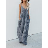 Women Casual Spaghetti Straps Striped Long Maxi Dress