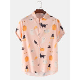 Mens Halloween Funny Animal Pumpkin Figure Print Loose Casual Short Sleeve Shirts